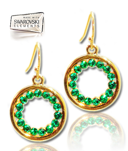 Cercei Swarovski Elements Emerald COD NEO188
