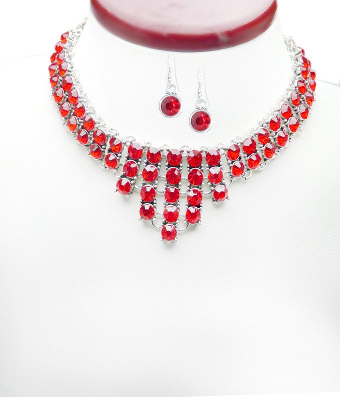 Set bijuterii Swarovski Elements Red Siam M538