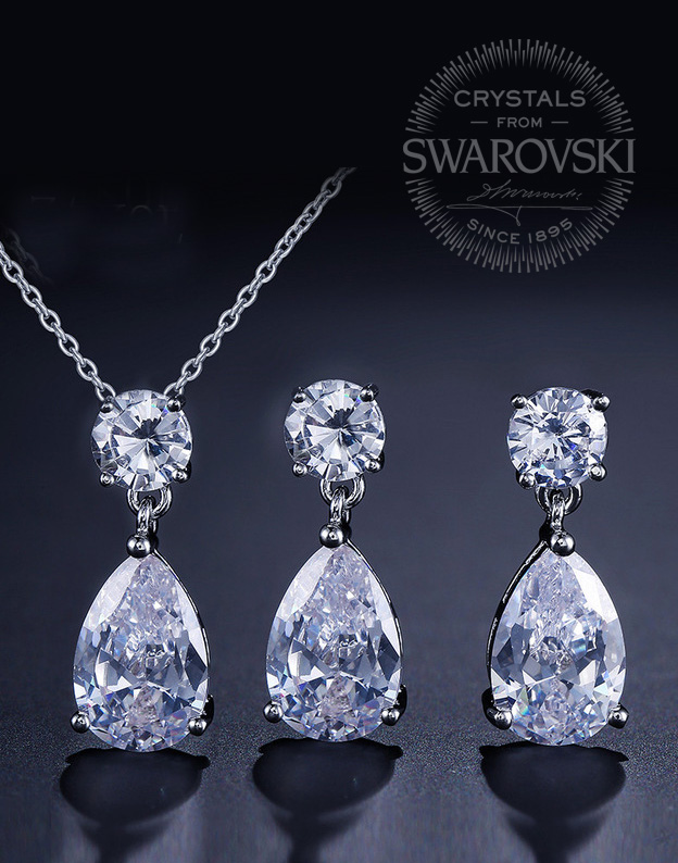 Set Small Tear Drop cu Swarovski Elements