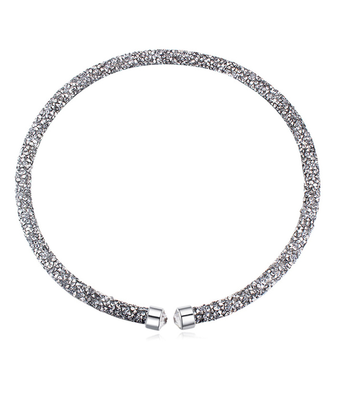 Colier crystal dust light silver