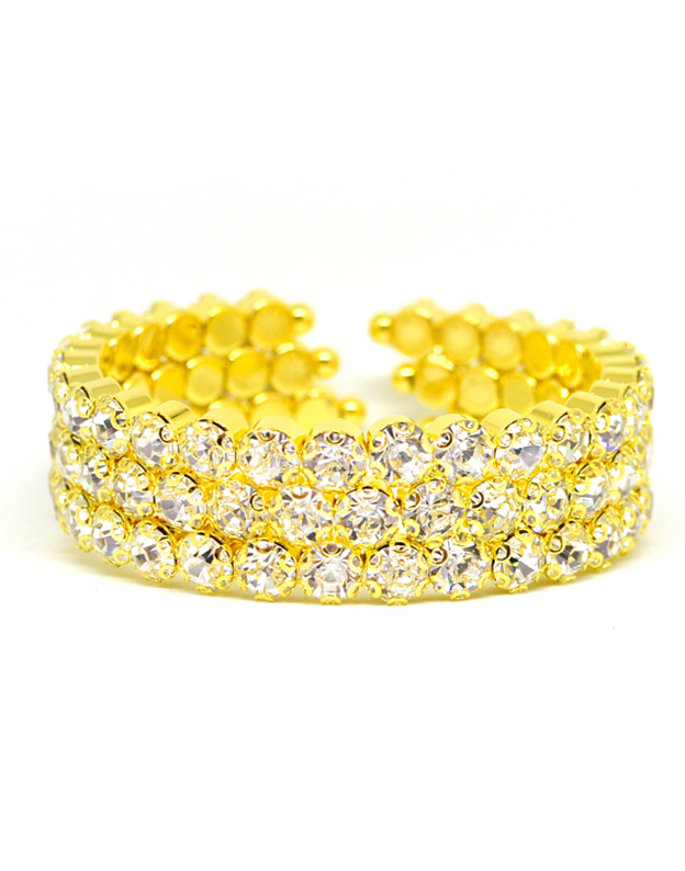 Bratara bangle aurie cu Swarovski Elements M897