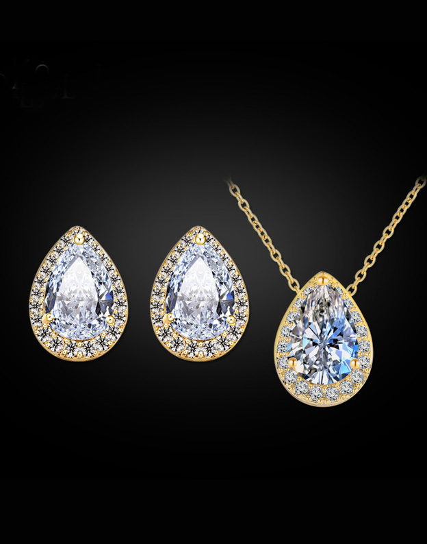 Set auriu Swarovski pear