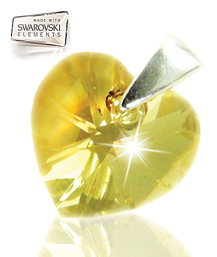 Colier inima Swarovski elements golden shadow COD SWS1